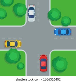 Crossroad with cars, top view. Four car ways crossing, intersection, traffic laws, rules. Urban infrastructure, city map. Vector illustration, flat design, cartoon style.