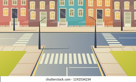 Crossroad cartoon street urban landscape. Road city crosswalk background illustration.
