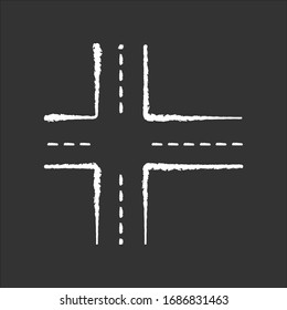 Crossroad chalk white icon on black background. Intersection of roads. Crossing pavement ways. Junction of crosswalk. Urban infrastructure. Crossed motorway. Isolated vector chalkboard illustration