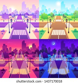 Crossroad with crosswalk. Road traffic intersection, daytime cityscape and urban road junction. Empty sidewalk and street, urban highway traffic with streetlights cartoon vector illustration set