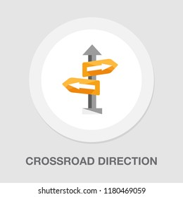 crossroad direction icon - vector road sign - directional arrows symbol