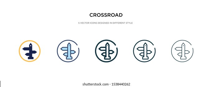 crossroad icon in different style vector illustration. two colored and black crossroad vector icons designed in filled, outline, line and stroke style can be used for web, mobile, ui
