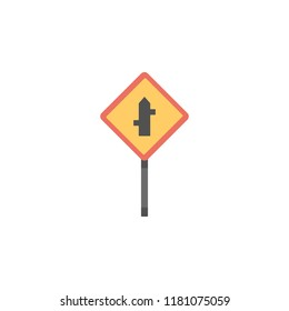Crossroad junction colored icon. Element of road signs and junctions icon for mobile concept and web apps. Colored Crossroad junction can be used for web and mobile on white bakgorund