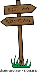 Crossroad of life with choice of wrong or right way. If you need own text, you can use vector file and delete this original.