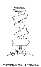 Crossroad sign with arrrows of different directions in four ways black and white hand drawn vector illustration in cartoon style