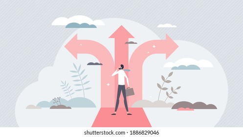 Crossroads as business strategy choice and future options tiny person concept
