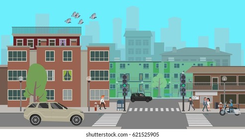Crossroads in the city street. vector illustration. Flat style design.