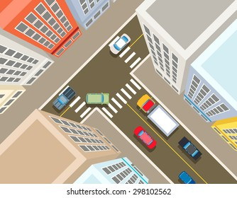 Crossroads in the city top view. Transport car, urban and asphalt, traffic and building. Vector illustration