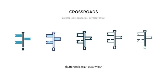 crossroads icon in different style vector illustration. two colored and black crossroads vector icons designed in filled, outline, line and stroke style can be used for web, mobile, ui