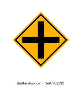 Crossroads Junction Traffic Road Sign,Vector Illustration, Isolate On White Background Label.