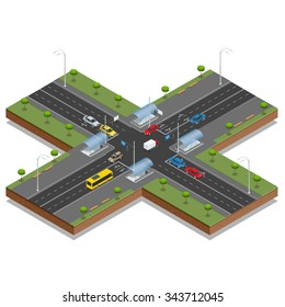 Crossroads and road markings isometric vector illustration. Transport car, urban and asphalt, traffic. Crossing Roads (Road Intersection with pedestrian subway).