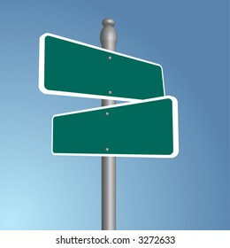 Crossroads signpost, vector art, fully editable, add your own text!