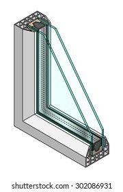 Cross-section diagram of a double glazed window.
