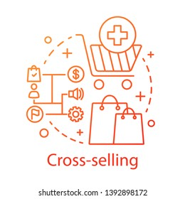 Cross-selling concept icon. Sale method idea thin line illustration. Selling related products or service. CRM system. Customer relationship management. Vector isolated outline drawing