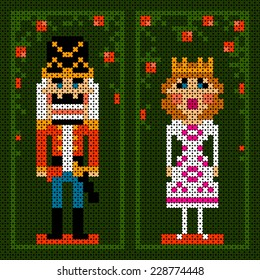 cross-stitch christmas card with nutcracker and princess