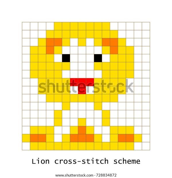 Image Vectorielle De Stock De Crossstitch Pixel Art Lion