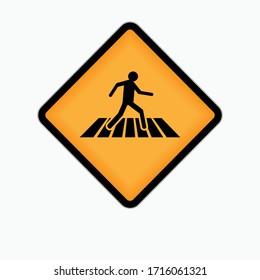 Crosswalk Area Sign. Icon of People Walking on Pedestrian Space - Vector.