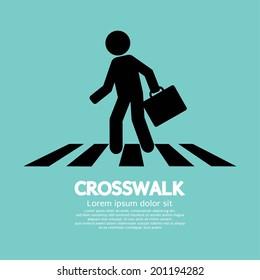 Crosswalk Graphic Sign Vector Illustration
