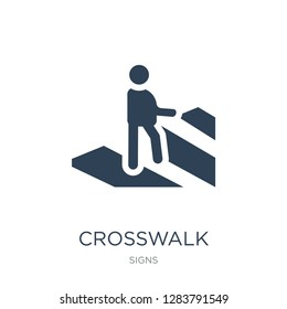 crosswalk icon vector on white background, crosswalk trendy filled icons from Signs collection, crosswalk vector illustration