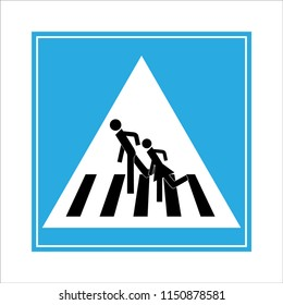 Crosswalk sign black in blue square. Icon a pedestrian place for child near school. Symbol safety traffic human on road. Label for banner about crossing way. Design element. Vector illustration