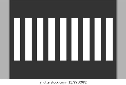 Crosswalk vector icon. Top view pedestrian crossing with sidewalk. White stripes on dark gray background.