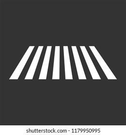 Crosswalk vector icon. Top view pedestrian crossing with sidewalk. White stripes on dark gray background.