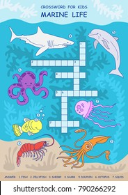 Crossword for children. Sea life. Development of children. Shark, octopus, squid, dolphin, fish, shrimp, jellyfish.
