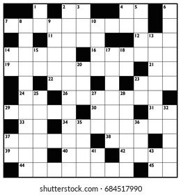 Crossword with empty boxes to insert any words for a clear message, brief heading or explicit information in keywords - square format template.