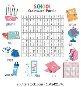 Crossword game about school for kids, word search puzzle with vocabulary and the answer, doodle cartoon flat style, illustration, vector