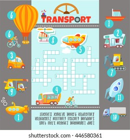 Crossword game with many kinds of transport and cars for preschool kids education.Ready game design concept.Vector illustration
