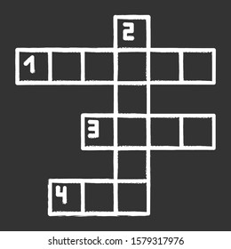 Crossword grid chalk icon. Word puzzle. Quiz. Mental exercise. Challenge. Knowledge, intelligence test. Brain teaser. Problem solving. Solution finding. Isolated vector chalkboard illustration