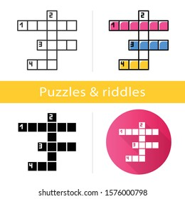 Crossword grid icon. Word puzzle. Quiz. Mental exercise. Challenge. Knowledge, intelligence test. Brain teaser. Solution finding. Flat design, linear and color styles. Isolated vector illustrations
