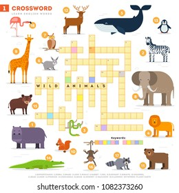 Crossword with huge set of illustrations and keyword in vector flat design isolated on white background. Crossword 1 - Wild animals - learning English words with images
