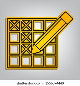 Crossword with pencil sign. Flat orange icon with overlapping linear black icon with gray shadow at whitish background. Illustration.