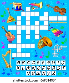 Crossword puzzle game with musical instruments. Educational page for children for study English words. Vector cartoon image.