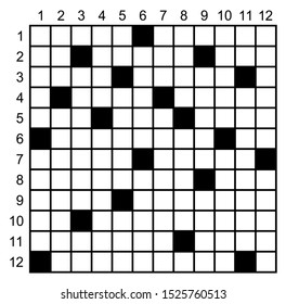 Crossword puzzle game vector.  Puzzle square crossword template
