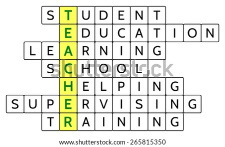 Crossword Puzzle Word Teacher Highlighted Related Stock Vector
