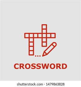 Crossword symbol. Outline crossword icon. Crossword vector illustration for graphic art.