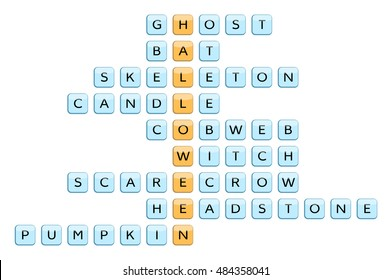 Crossword for the word Halloween and related words: Ghost, Bat, Skeleton, Candle, Cobweb, Witch, Scarecrow, Headstone, Pumpkin. Vector illustration.