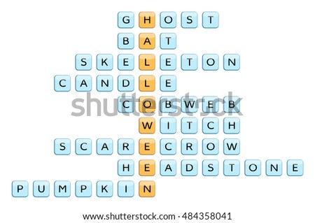 crossword for the word halloween and related words ghost bat skeleton candle