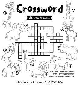 Crosswords puzzle game of african animals for preschool kids activity worksheet coloring printable version. Vector Illustration.