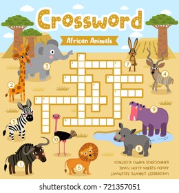 Crosswords puzzle game of african animals for preschool kids activity worksheet colorful printable version. Vector Illustration.