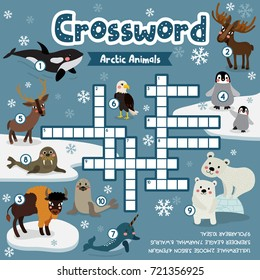 Crosswords puzzle game of arctic animals for preschool kids activity worksheet colorful printable version. Vector Illustration.