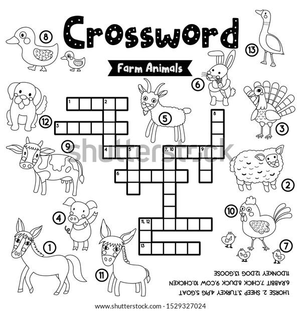 Crosswords Puzzle Game Farm Animals Preschool Stock Vector (Royalty Free)  1529327024