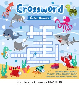 Crosswords puzzle game of ocean animals for preschool kids activity worksheet colorful printable version. Vector Illustration.