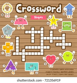 Crosswords puzzle game of shapes for preschool kids activity worksheet colorful printable version. Vector Illustration.