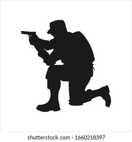 A crouching military army soldier or police swat man or person aiming a gun or handgun or pistol weapon silhouette shadow. War troops icon or symbol - Simple vector illustration