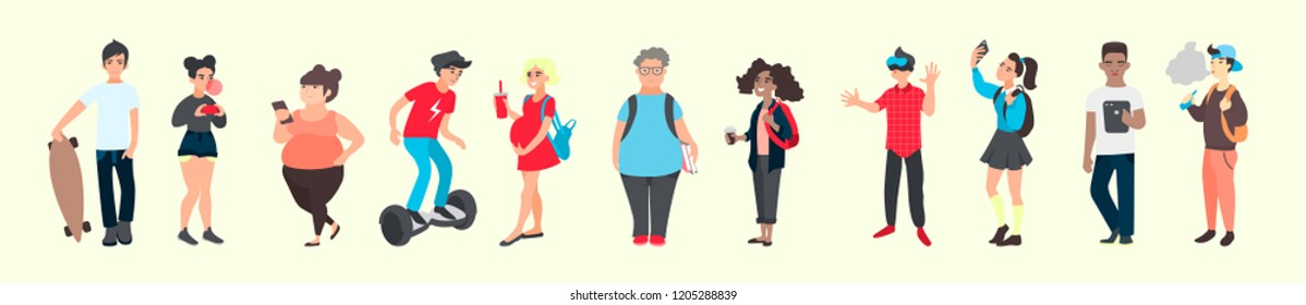 Croud of young people. Teen activities and teenager problems concept. Group of international diverse teenage persons. Vector illustration of flat cartoon students