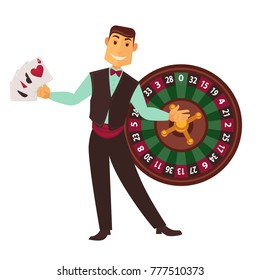 Croupier in work suit with play cards and roulette wheel