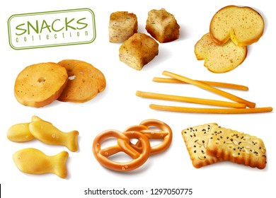 Croutons crackers pretzels biscuits crispy bread sticks realistic baked snacks appetizing closeup images collection isolated vector illustration
